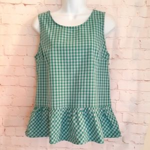 J. Crew Bl/Grn Cotton Gingham Bow Back Tank Top XS